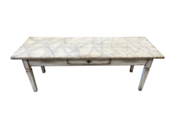 19th C Italian Painted Coffee Table With Faux Marble Top