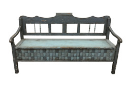 19th C Scandinavian Painted Hall Bench With Storage