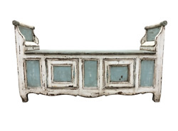 Fabulous 19th C French Painted Hall Bench With Storage