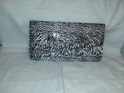 guess clutch evening bag black and white satin with gold leather on the inside