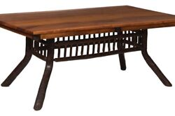 Amish Hickory Rectangle Dining Table 42 X 72 Solid Wood Rustic Cabin Lodge