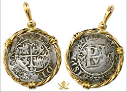 Pendant Jewelry Mexico 1/2 Real 14kt Gold Pirate Gold Coins Shipwreck Treasure C