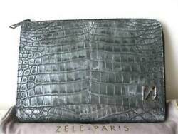 ZELE PARIS Ladies Genuine Leather Clutch Bag Grey Briefcase Elegant Y72A