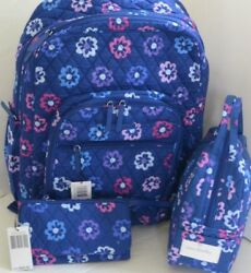 Vera Bradley 3-PC Large Campus Backpack & Lunch Bunch & Wallet ELLIE FLOWERS NWT