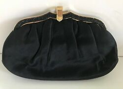 Vintage Judith Leiber Black Satin Clutch Evening Bag wcoin purse comb mirror