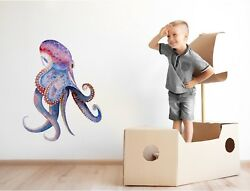 Watercolor Octopus Wall Decal Removable Wall Sticker Sea Ocean Decor