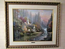 Thomas Kinkade The Forest Chapel 24 X 30 S/n Le Sold Out Edition