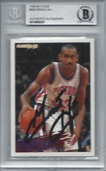 Grant Hill - 1995 Fleer Signed Autographed Rookie Rc Bas Beckett Slabbed