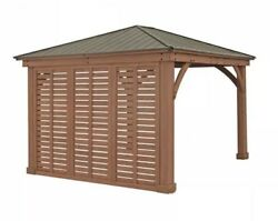 Yardistry 12' Wood Privacy Wall For 12x12 Or 12x14 Gazebo NEW SHIPS FROM FACTORY