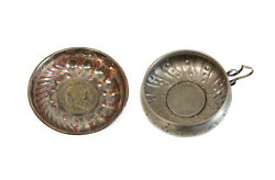 Pewter And Silver Plate Set Of Coin Mounted Tastevin Wine Tasters Circa 1900