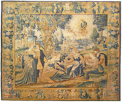 Antique 18th Century Flemish Mythological Tapestry with the Greek Deity Apollo