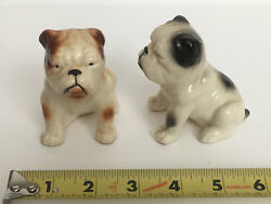 VTG Antique Ceramic English Bulldog Figurine Sculpture SALT PEPPER SHAKER #1