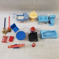 Vintage 15 Piece Doll House Furniture Outdoor Items Bathroom Baby Stroller Chair