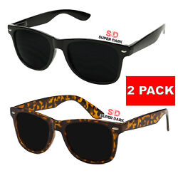 2x Super Dark Lens MEN Sunglasses Style Black Frame 80#x27;s Classic Extra Women $10.99