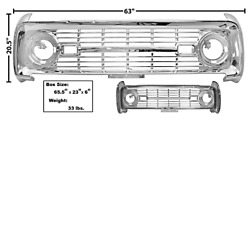 Ford Bronco Grille Without Logo Chrome 1966-1968 Dynacorn