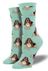 Hound Dog Crew Socks - Socksmith NEW funky green mint basset hound Novelty socks