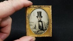 Antique Ambrotype Photograph Civil War Lincoln Era Man With Top Hat - 9th Plate