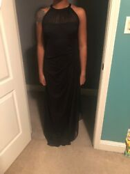 Beautiful black formal and evening dress with sheer high neck $75.00