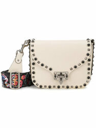 Valentino Rockstud Rolling Bag Ivory Noir Crossbody with Guitar Strap Mint!