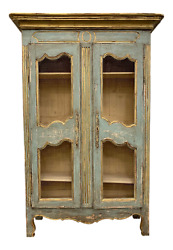 French Provincial Antique Painted Bookcase Display Cabinet
