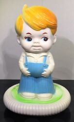 """Antique Sanitoy Young Boy Child Night Light Lamp Blow Mold 8"""" Nursery Baby Decor"""