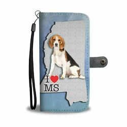 Amazing Beagle Print Wallet Case-Free Shipping-MS State