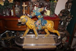 Large Antique Chinese Japanese Pottery Sculpture Warrior Man Riding Tiger 1