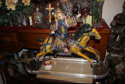 Large Antique Chinese Japanese Pottery Sculpture Warrior Man Riding Horse 2
