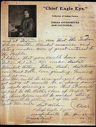 1904 - Chief Eagle Eye - Indian Curio Collector - G D Fuerst RARE  Letter Head