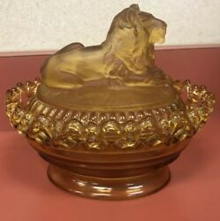 Vintage Amber Imperial Glass Satin Frosted Lion Covered Candy Dish Lace Lattice