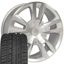 22 Wheel Fits Tahoe Suburban Rst Rally Rim Mach'd Silver Imove G2 Tires 5821