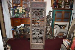 Large Antique Chinese Single Panel Wood Carved Divider Lattice Screen Detailed