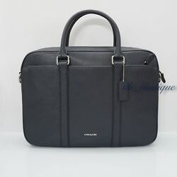 NWT Coach F59057 Mens Perry Slim Briefcase Crossbody Laptop Bag Leather Midnight