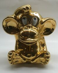 Rare Vintage Funky Monkey Italian Gold Luster Coin Bank Pottery 1960s Marked