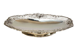 Asprey And Co Ltd Sterling Silver Oval Pierced Footed Centerpiece Bowl 1937.