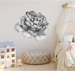 Black And White Peony Flower 1 Wall Decal Removable Sticker Floral Nursery Decor