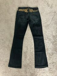 Robins Jeans Womenand039s Flare Cut Blue Gold Hardware And Designs Size 26 Brand New