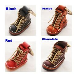 NEW VINTAGE GENUINE LEATHER MINI BOOTS KEY CHAIN SHOES KEY RING HANDCRAFT GIFT