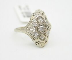 Vintage 14k White Gold 0.23ct Old Mine Cut Diamonds Cocktail Ring. Size 7