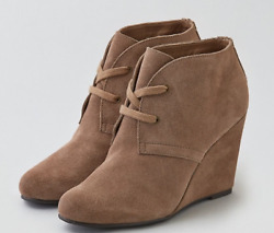 130 Size 9 Dolce Vita Gardyn Taupe Suede Ankle Boots Wedge Heel Womens Shoes