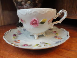 Paulux China Japan Cup And Saucer High Relief Flowers Floral Vintage