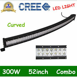 Curved 52inch 300w Led Work Light Bar Combo Driving Drl Lamp Car Windshield Boat