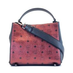 BRAND NEW WOMENS MCM SMALL METALLIC SCOOTER RED VISETOS SHOULDER CROSSBODY BAG