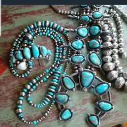 Native American Indian Huge Turquoise Vintage Squash Blossom Beautiful Sterling