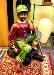 Life Size Bronze Sculpture Of Boy In Wagon 31 Tall, Home And Garden