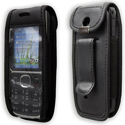 caseroxx Leather-Case with belt clip for Nokia C2-01 made of real leather with