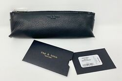 NWT Rag and Bone New York Black Leather Pencil Pouch Case Travel Cosmetic Bag