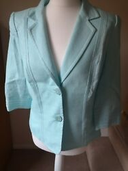 Aqua Blue 100% Linen Smart Jacket Ladies Size 12 Petite From Country Casuals CC