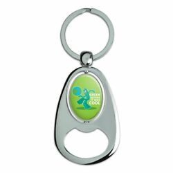 Gumby Green Before It Was Cool Earth Spinning Oval Bottle Opener Keychain