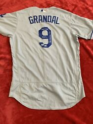 Rare Yasmani Grandal Autographed Inscribed Game Used Dodgers Jersey Mlb Psa